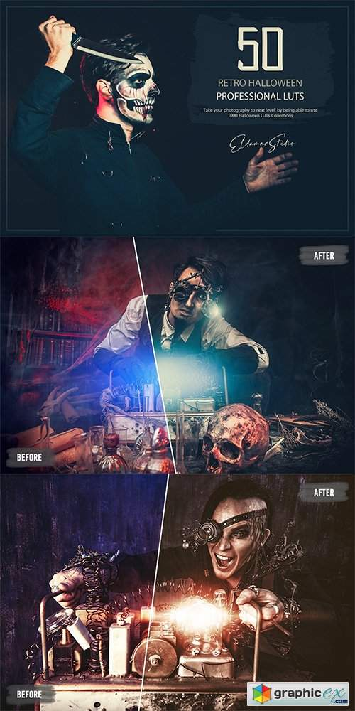 50 Retro Halloween LUTs and Presets Pack