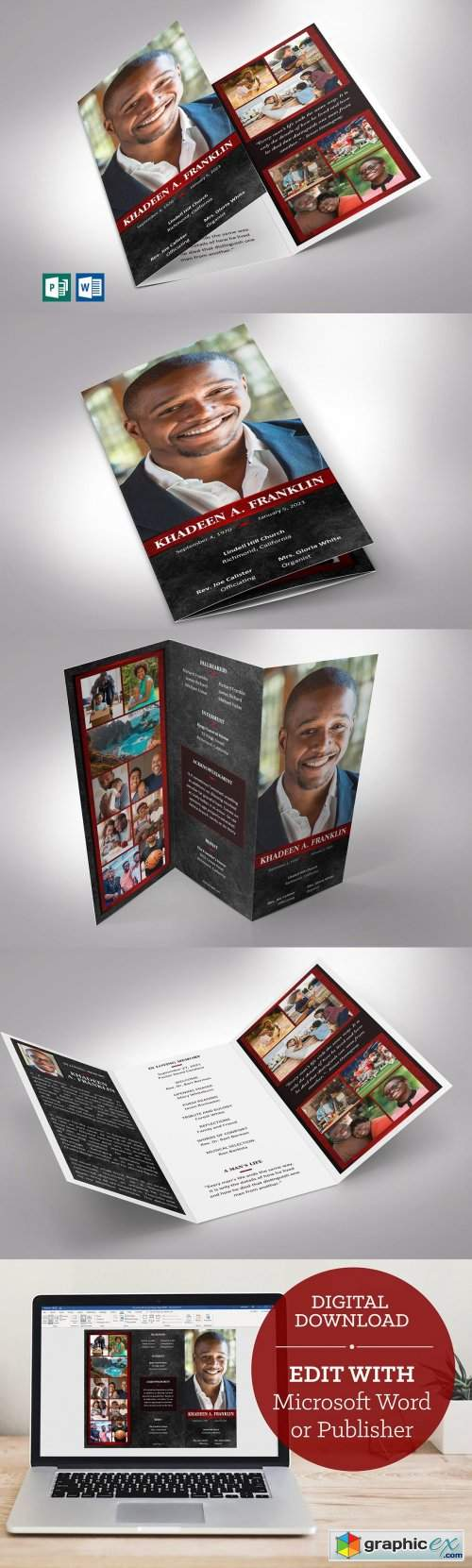 Red Rock Trifold Funeral Program