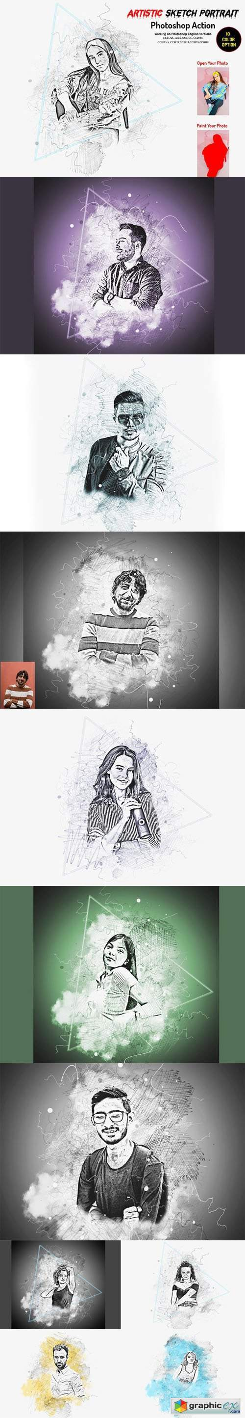 Artistic Sketch Portrait Action for Photoshop + Brushes