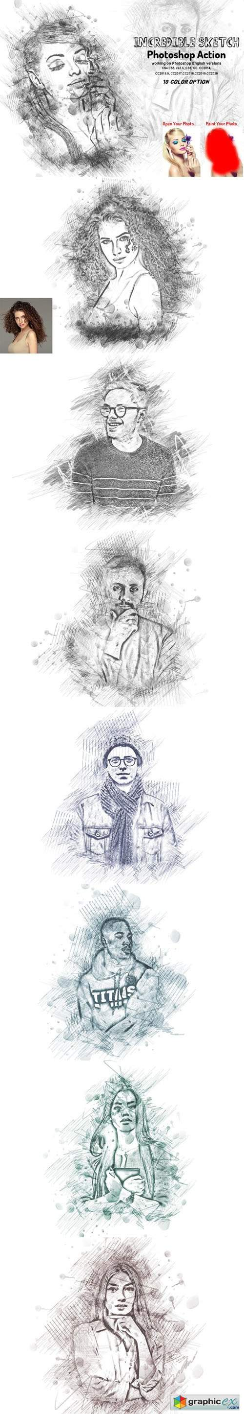 Incredible Sketch Art Action for Photoshop + Brushes