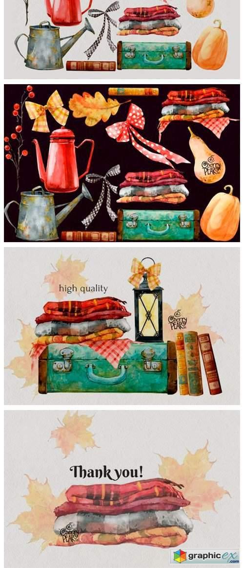 Cozy Autumn. Watercolor Fall Clipart Bundle
