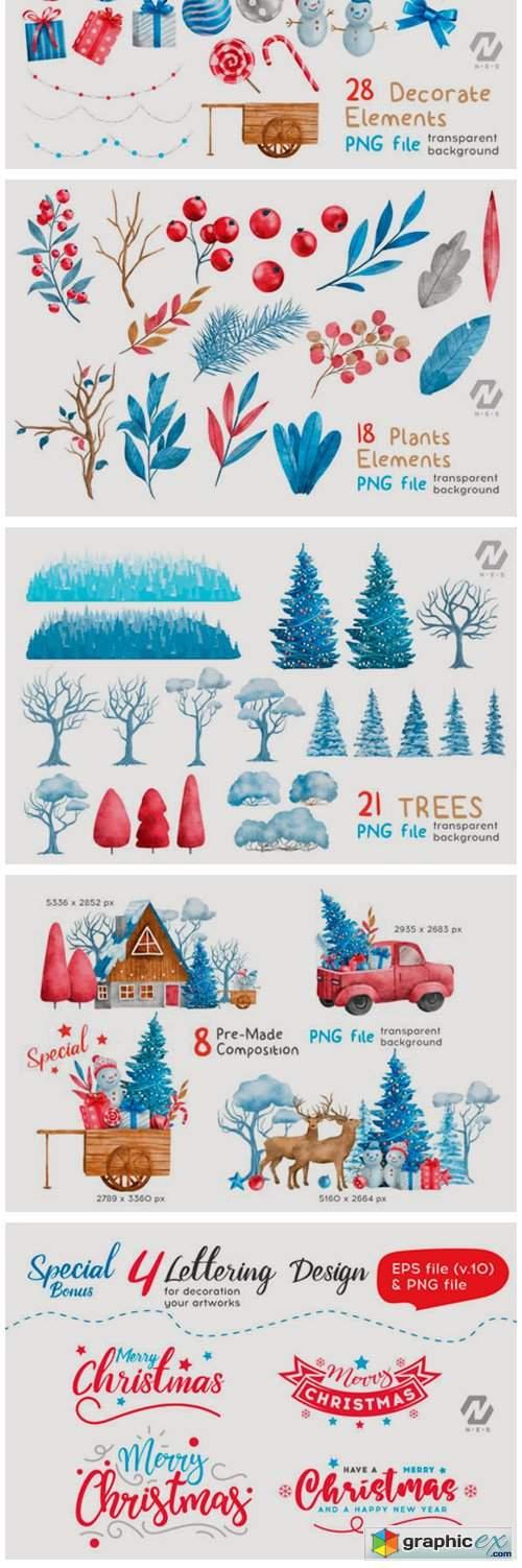Christmas Happy Land Watercolor Elements