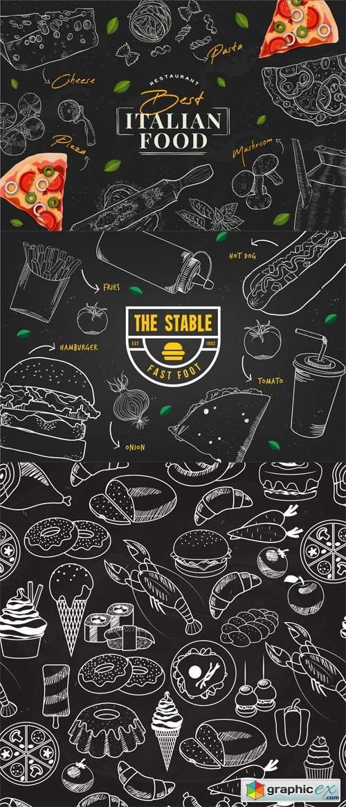 7 Restaurant Food Backgrounds Vector Templates