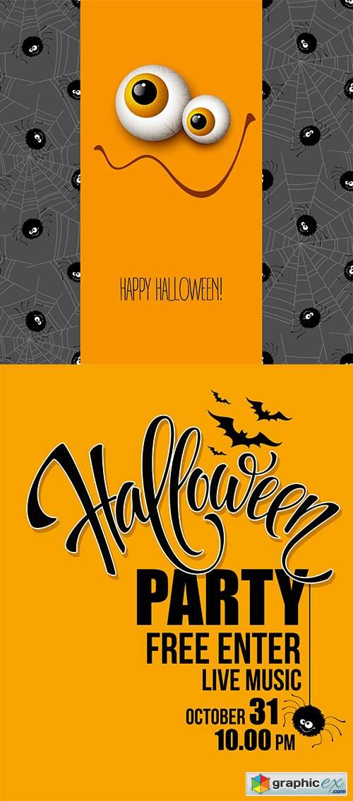 Halloween party happy holiday vector illustrations