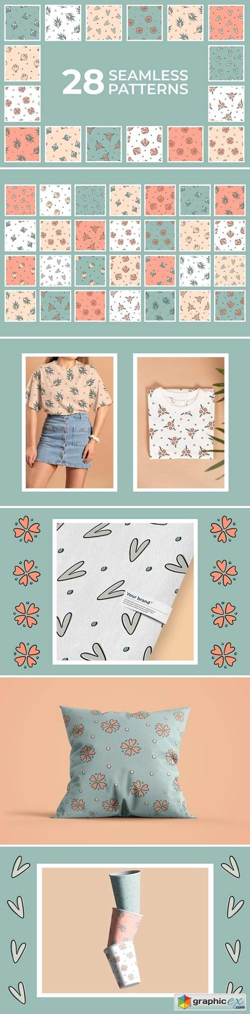 Floral abstract seamless patterns