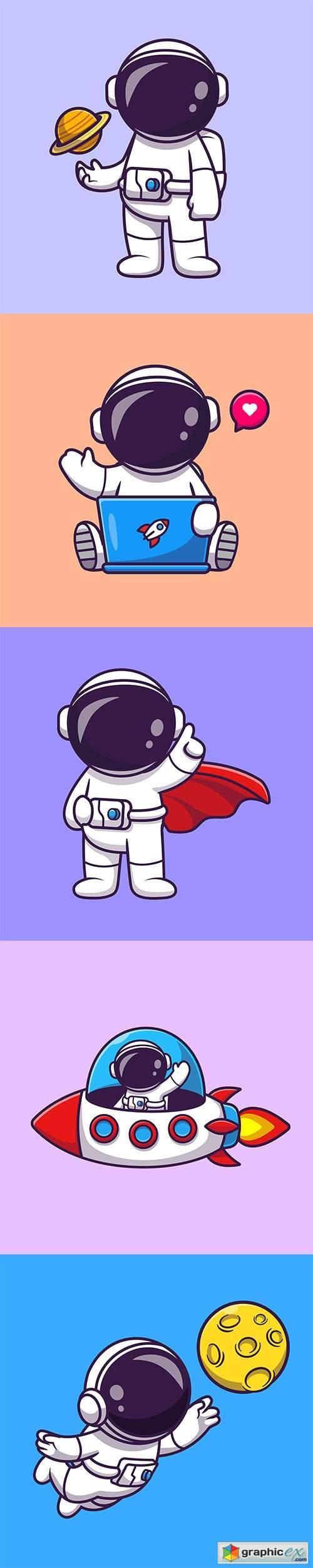 Cute astronaut catching moon cartoon vector illustrations