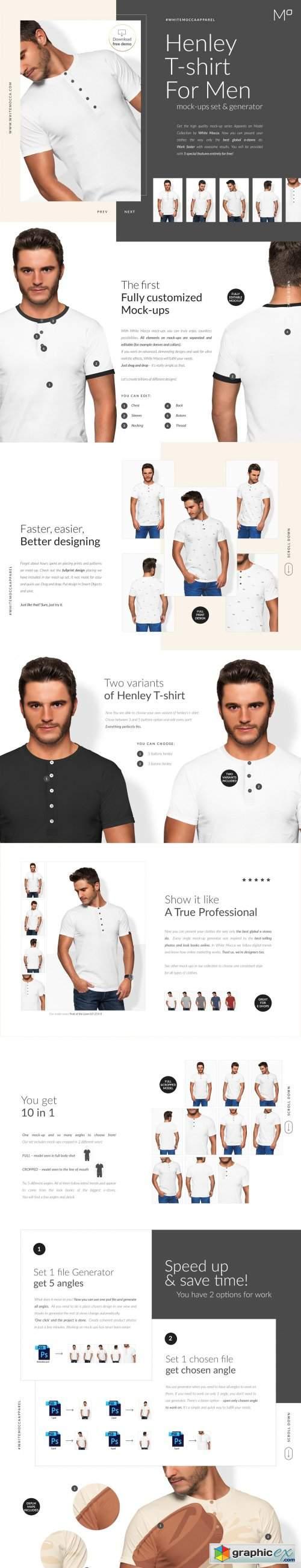 Men Henley T-shirt Mockups Free demo