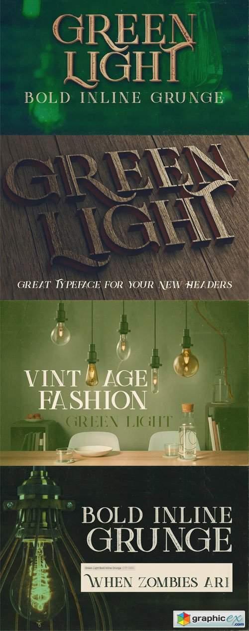Green Light - Bold Inline Grunge Serif Font