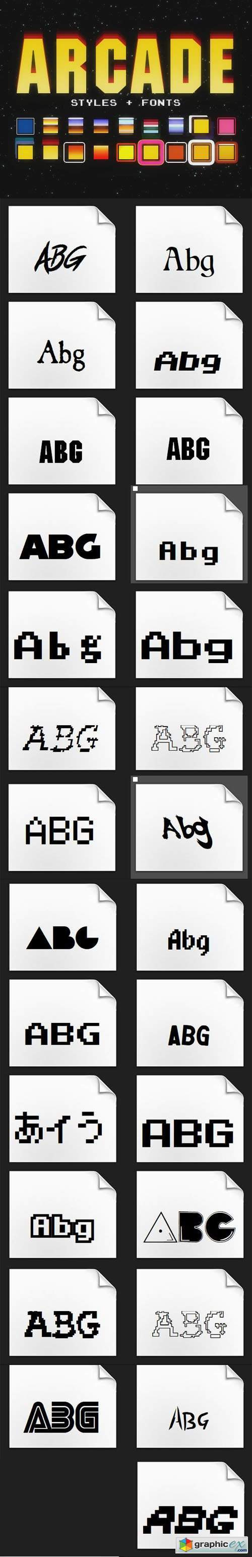 Arcade Pack - 18 Photoshop Styles & 27 Fonts
