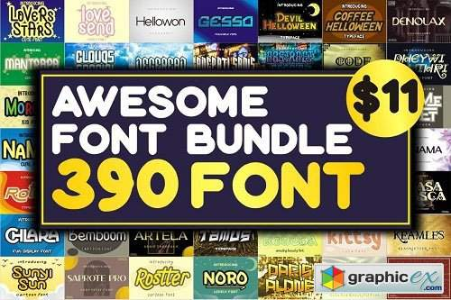 Awesome Font Bundle - 390 Premium Fonts