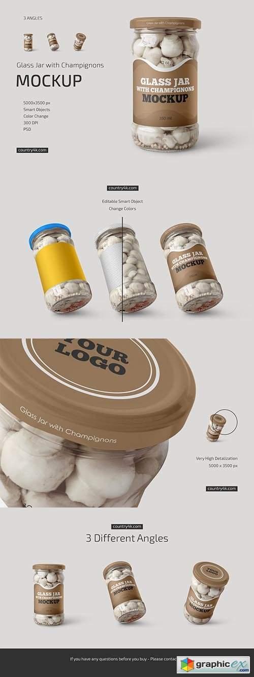 Glass Jar with Champignons Mockup