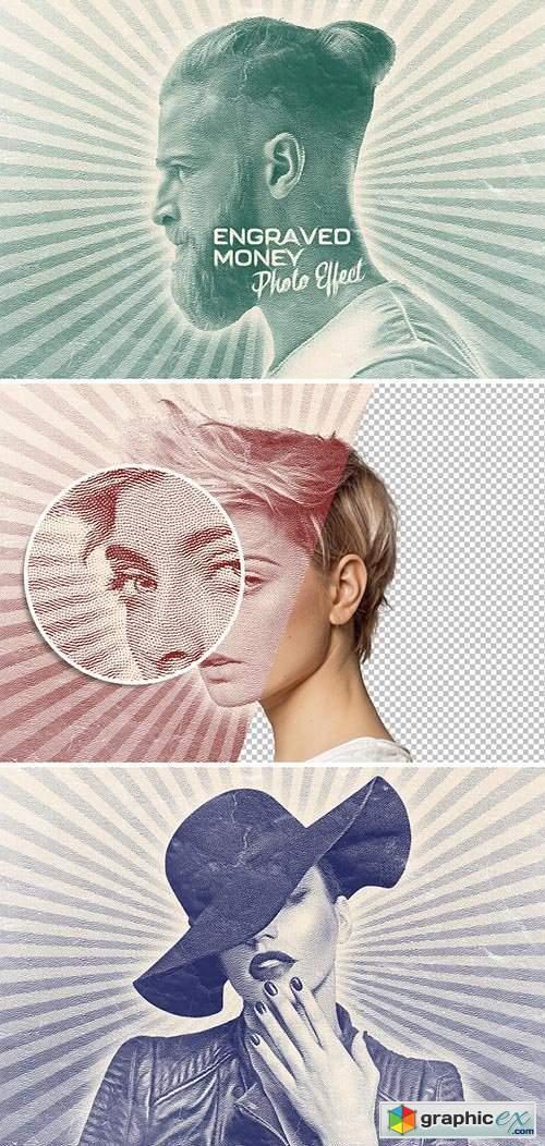 Engraved Money Paper Photo Effect Mockup