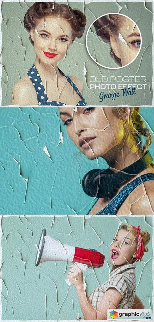 Vintage Cracked Poster Photo Effect Mockup
