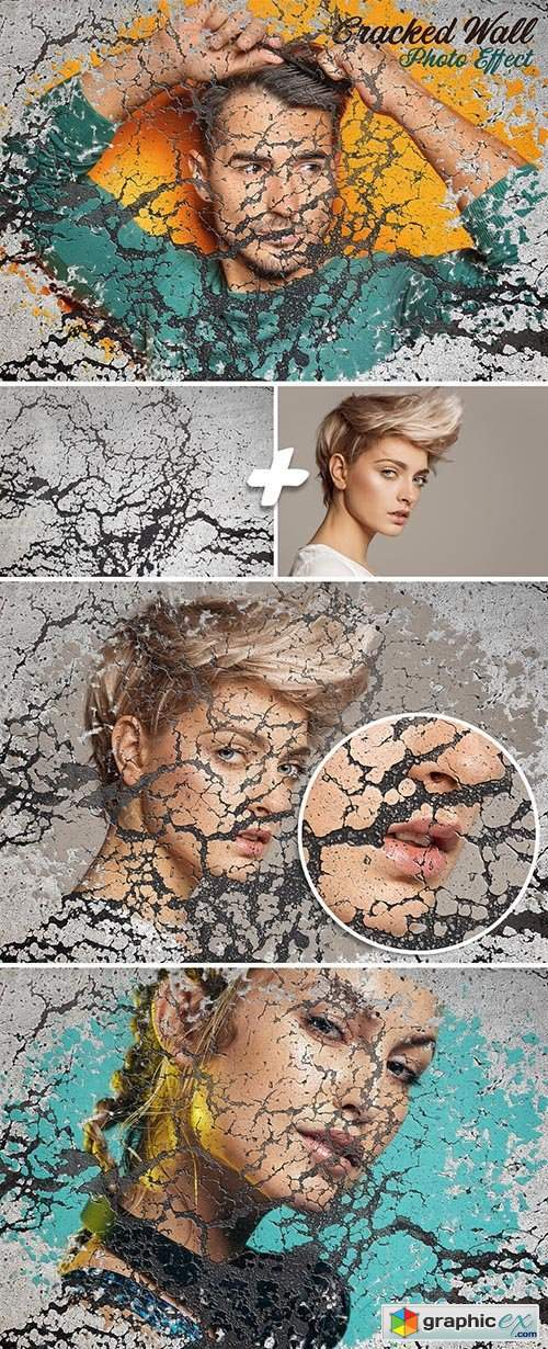 Cracked Wall Photo Effect Mockup