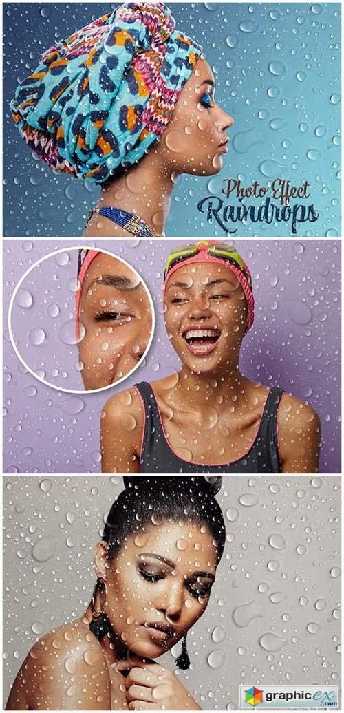Raindrops Photo Effect Mockup 462310920