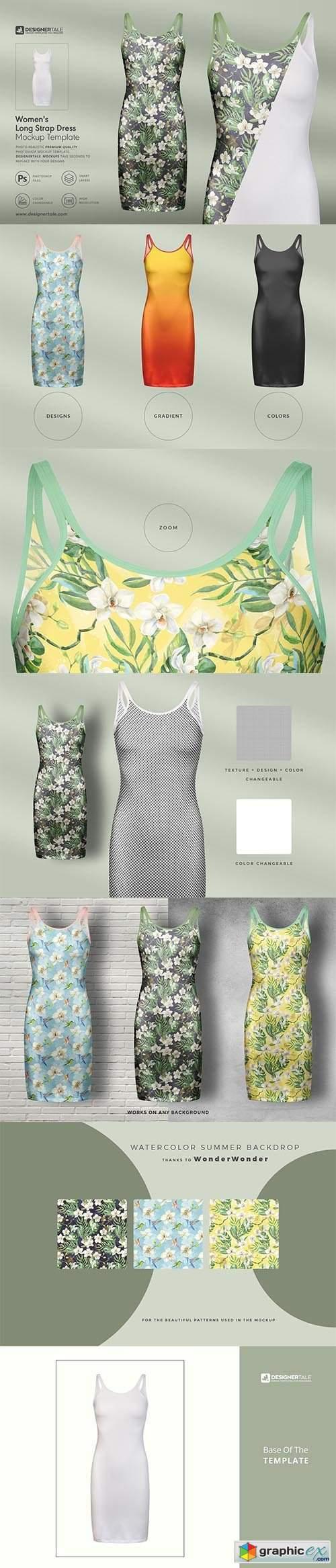 Women's Long Strap Dress Mockup 4109441