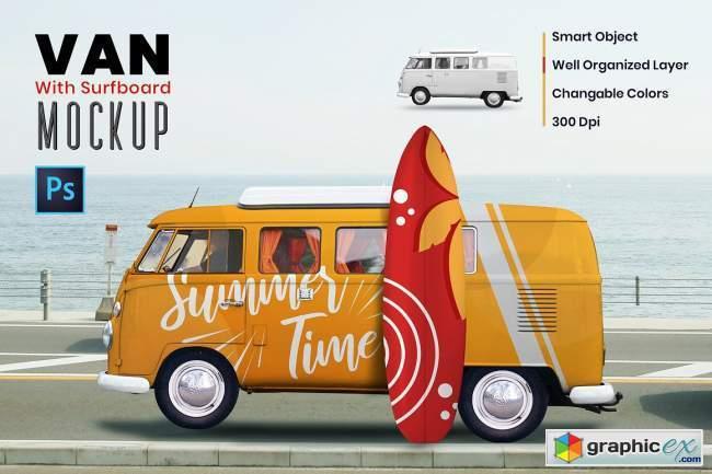 Van with Surf Board Mockup